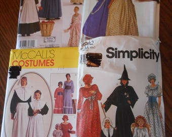 American Colonial Woman and Girls, Dresses, Witch, Pilgrim