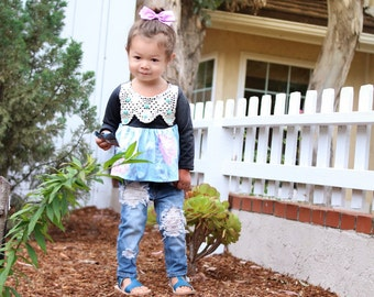 Floral And Crochet Pom Grey Knit Swing Top Baby/Toddler