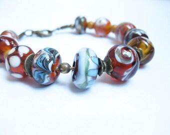 Bracelet, Bead Bracelet, handmade beads in Brown, white, turquoise,