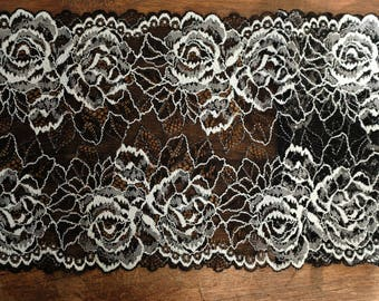 Stretch Lace - Black & White