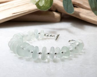 Sea Glass Bracelet - Real Sea Glass Jewelry | Seaglass Jewellery | Unique Birthday Gift | Ocean Bracelet | 925 Sterling Silver Sea Glass