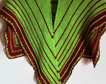 Green & Red Hand Knit Shawl