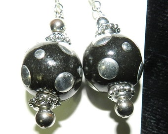Earrings, Black and Silver, Dangles
