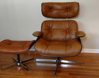 Mid Century Selig Caramel Lounge Chair and Ottoman
