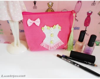 Purse with pencil, makeup, toiletries, lingerie, Kit pink cotton, felt white corset, romantic gift for her, Christmas, home
