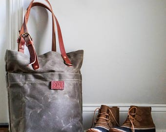 Market Tote - Waxed Canvas Tote Bag, market bag, tote bag, purse, luggage, shoulder bag, handbag