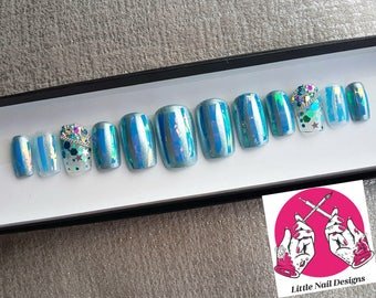 Blue Holographic | Clear | Glitter | Swarovski Crystals | Hand Painted False Nails | Little Nail Designs