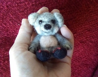 Needle felted cute little bear in boots