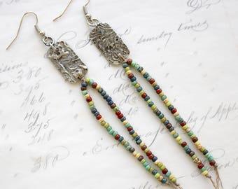 Long Dangle Earrings - Seed Bead Earrings - Lightweight Earrings - Beaded Earrings - Girlfriend Earrings Gift - Everyday Earrings