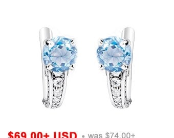 Swiss Blue Topaz Earrings Blue Earrings Blue Wedding Earrings Blue Bridal Earrings Gemstone Solitaire Earrings December Birthstone Earrings