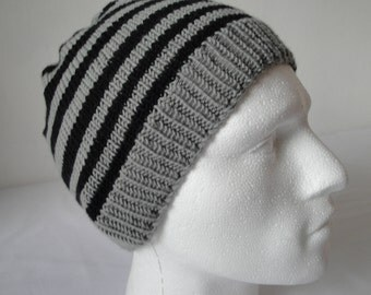 black and grey hat, striped cap for men, wool knit unisex hat, slouchy beanie, gray black watchcap, gift for him or her, merino wool beanie