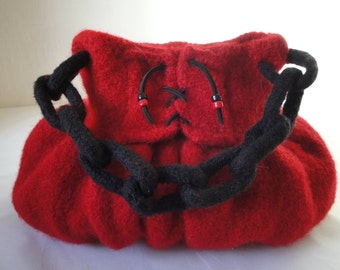 red felt bag, felted wool bag, Valentine gift, OOAK red handbag, red and black bag, bag with lacing, cheeky red bag, corset design handbag