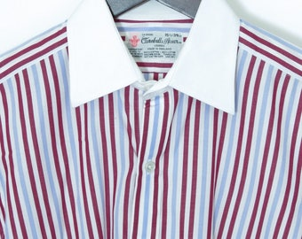 Size 15.5/34 - Turnbull & Asser VTG contrast point collar French cuff shirt, England