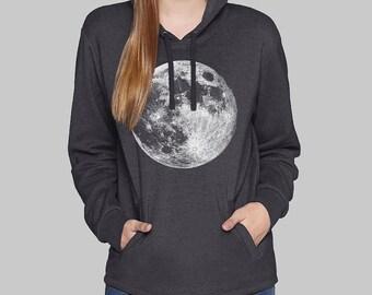 Black Womens Pullover Hoodie, Full Moon, moon hoodie, sweatshirt for women, hoodies,, sweatshirt, fleece, graphic hoodie