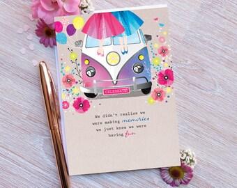 VW Convi van birthday card with crystal gems + white envelope, female cards, female card, greeting cards, sister card, friend card, niece