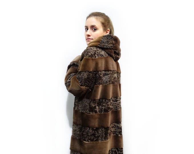 Sheared Mink Coat,Swakara Fur Coat F137