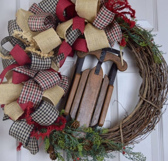 Rustic Sled Grapevine Wreath with Gingham Bows, Cedar, Pine Cones and Berries; Country Winter Holiday Decor Wreath; Christmas Decor Wreath