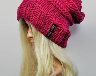 PInk slouchy beanie, Slouch hat, Chunky knit hat, Womens beanies, Pink beanie, Hand knit hat, Merino wool hat, Slouchy hat, Slouch beanie