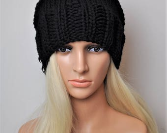 Black Beanie hat, Womens beanie,  Black slouchy beanie, Knitted beanies,Beanie woman, Womans slouchy beanie, Choose your color,Merino wool.