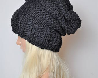 Charcoal slouchy beanie, Slouch hat, Chunky knit hat, Womens beanies,black beanie, Hand knit hat, Merino wool hat, Slouchy hat,