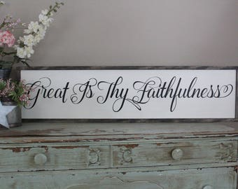 Great Is Thy Faithfulness Framed Wood Sign, Dining Room Wall Art  Christian Home Decor, Distressed Wood Sign