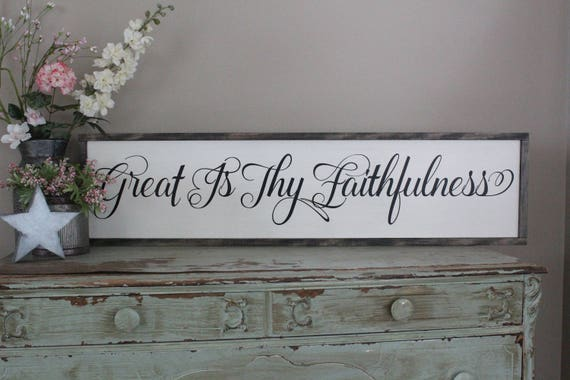 Great Is Thy Faithfulness Framed Wood Sign Dining Room Wall