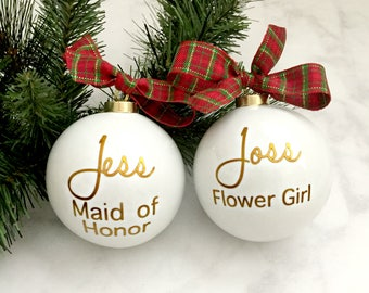 Personalized Bridesmaids Ornaments, Personalized Christmas Ornaments