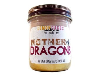 Mother of Dragons - Book Candle - Book Lover Gift - 8oz Soy Candle - LemonCakes Candle Co - The Great Grass Sea & Fresh Air