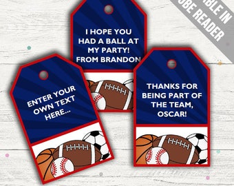 Sports Party Favor Tags (Sports Thank You Tags). Printable PDF (EDITABLE). Instant Download.