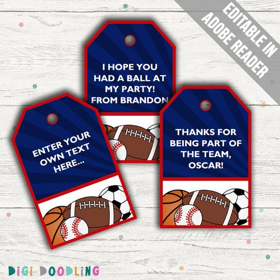 Sports Party Favor Tags Sports Thank You Tags Printable Pdf