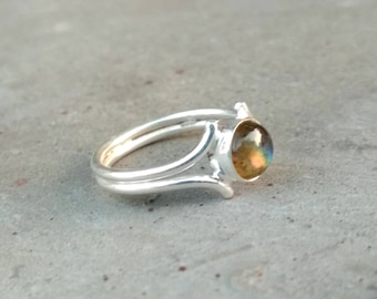 Natural Labradorite Handmade Sterling Silver Ring - Labradorite Ring - Labradorite Round Cab Ring - Handmade Ring - Gift Ring for Her