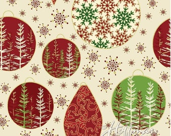 Christmas Fabric, Screenprint Fabric, Oh What Fun, Cream and Gold with metallic accents, by Hoffman California Fabrics, P4351