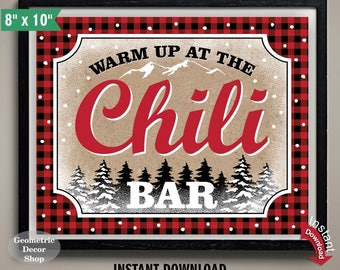 Chili Bar Sign / INSTANT DOWNLOAD / Buffalo Plaid Lumberjack Birthday / Red & Black Plaid / Printable Digital File / Winter / TSLJ2