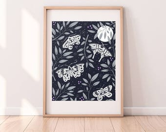 Nocturne Art Print | 8x10 | Moths, Butterflies, Botanical, Moon, Night Scene, Silver, Hand-drawn, Floral, Moonlight, Pattern, Insects