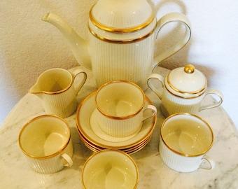 """Fitz & Floyd Vintage Tea  Set """"Classique D'Or"""" 1982 Japan Complete Service  For 4 (13 Pieces) Ivory Color With Gold Trim"""