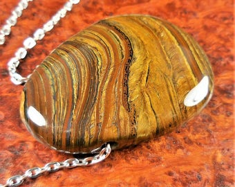 Tigers Eye Necklace - Tumbled Gemstone Bead - Freeform Wafer Pendant Polished Natural Stone Jewelry (V51) Drilled Beads Healing Crystals