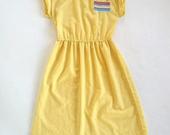 Vintage 1970s P.M. fashions of miami dropped shoulder yellow summer dress