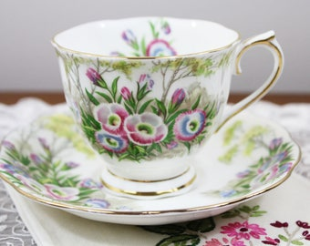 """Vintage Royal Albert """"Fringed Gentian"""" English Bone China Teacup and Saucer - Countess Shape - Gifts for Her, Tea Party"""