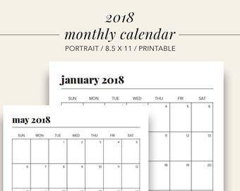 2018 Monthly Portrait Calendar, Printable Planner, Calendar 2018, Printable Calendar, 2018 Planner Pages, Household Binder Pages