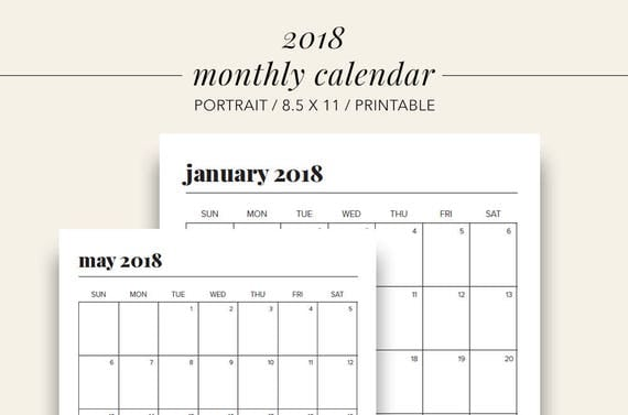 2018 Monthly Portrait Calendar Printable Planner Calendar