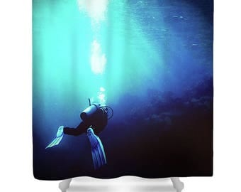 Blue shower curtain, scuba shower curtain, diving shower curtain, scuba decor, scuba diving, navy shower curtain, scuba bath mat, unique