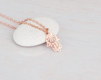 Rose Gold Hamsa Necklace, Tiny Hamsa Charm, Good Luck Necklace, Protection Necklace, Hamsa Hand Necklace, Filigree Necklace, Hand of Fatima