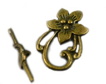 Toggle Clasp Peach Flower Design Antiqued Brass Lead Free 30x20mm - Two (2) Sets