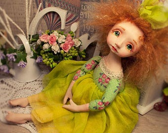 Boudoir doll, artist doll, OOAK doll, movable doll 10in, Maria Trotsenko, kawaii, green