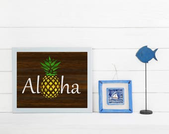 Aloha Art Print, Aloha Wall Art, Hawaiian Home Art, Tropical Home Art, Pineapple Kitchen Decor, Rustic Beach Wall Decor, Aloha Decor Gift