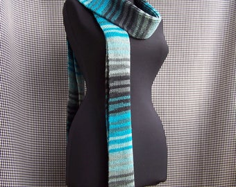 chunky long knitted warm striped gradient blue, turquoise and gray street fashion scarf cool gift for cool season