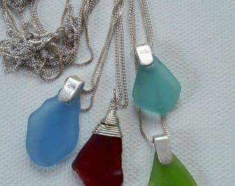 GENUINE Rare Sea Glass Pendant Necklace Teal, Blue, Red, brides maid gifts beach wedding