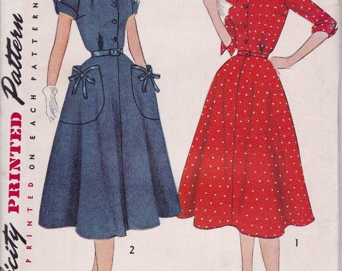 FREE US SHIP Bust 35 Vintage Retro 1950s 50s Original Sewing Pattern Simplicity 3823 Uncut Half size Glamour Dress Big Pockets ff