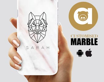Custom Marble Phone Case - Wolf iPhone 5/5S/6 case - Marble iPhone 6/6+/7/7+ case - marble galaxy case