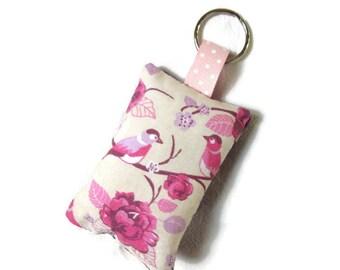 Keychains fabric, flowers, birds, Pink Purple